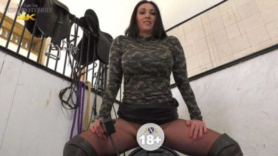 Leather thigh boots Sybian ride, Miss Hybrid tests a new attachment.