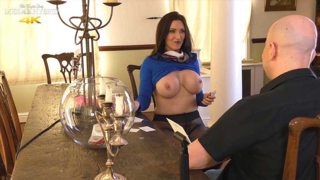 Miss Hybrid huge tits, leather thigh boots titwank and blowjob.